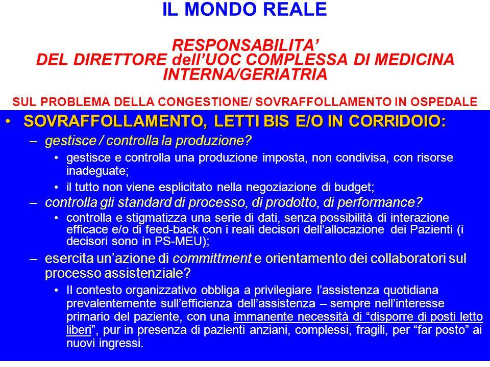 IL MONDO REALE RESPONSABILITA' DEL DIRETTORE dell'UOC COMPLESSA DI MEDICINA INTERNA/GERIATRIA SUL PROBLEMA DELLA CONGESTIONE/ SOVRAFFOLLAMENTO IN OSPEDALE