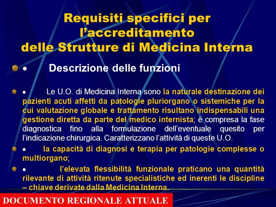 Requisiti specifici per l'accreditamento delle Strutture di Medicina Interna