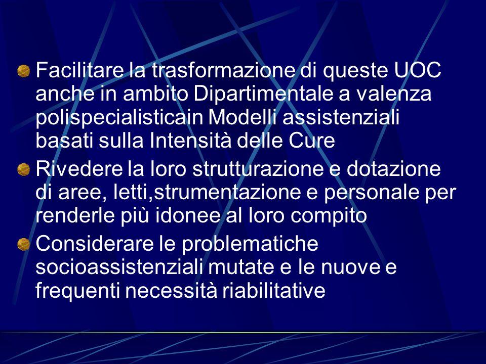 Facilitare la trasformazione di queste UOC anche in ambito Dipartimentale a valenza polispecialisticain Modelli assistenziali basati sulla Intensità delle Cure