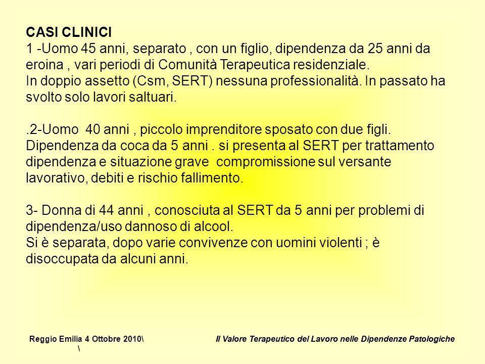CASI CLINICI 1 -Uomo 45 anni, separato , con un figlio, dipendenza da 25 anni da eroina , vari periodi di Comunità Terapeutica residenziale.