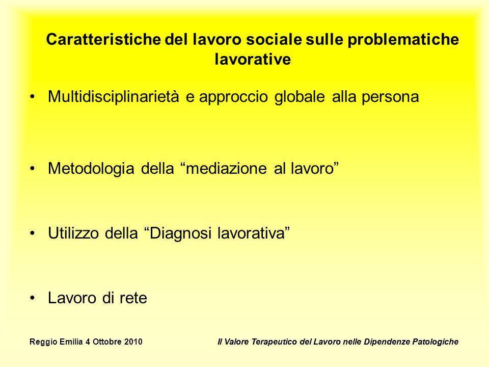 Caratteristiche del lavoro sociale sulle problematiche lavorative