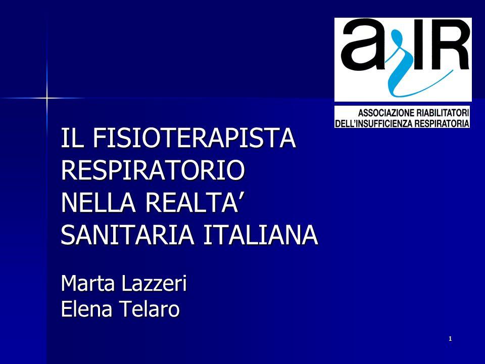 IL FISIOTERAPISTA RESPIRATORIO NELLA REALTA' SANITARIA ITALIANA Marta Lazzeri Elena Telaro