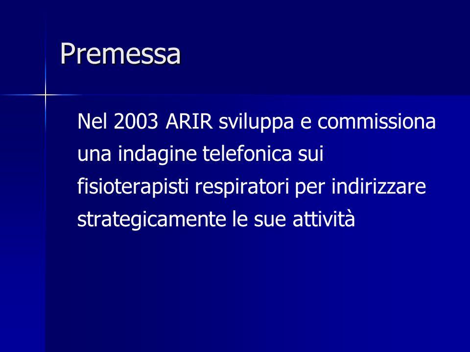 Premessa Nel 2003 ARIR sviluppa e commissiona una indagine telefonica sui fisioterapisti respiratori per indirizzare strategicamente le sue attività.
