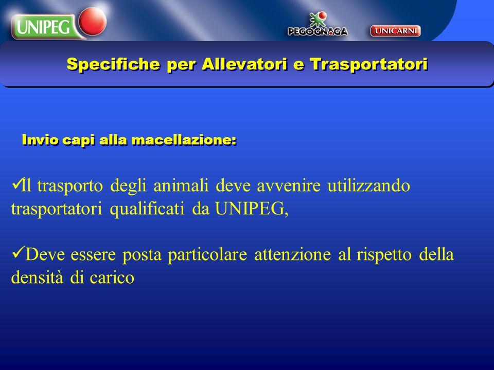 Specifiche per Allevatori e Trasportatori