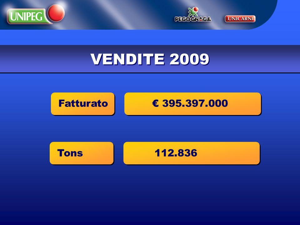 VENDITE 2009 Fatturato € 395.397.000 Tons 112.836