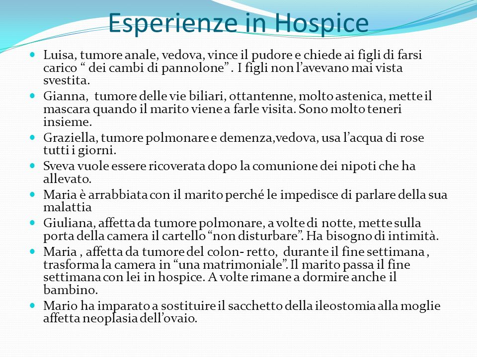 Esperienze in Hospice