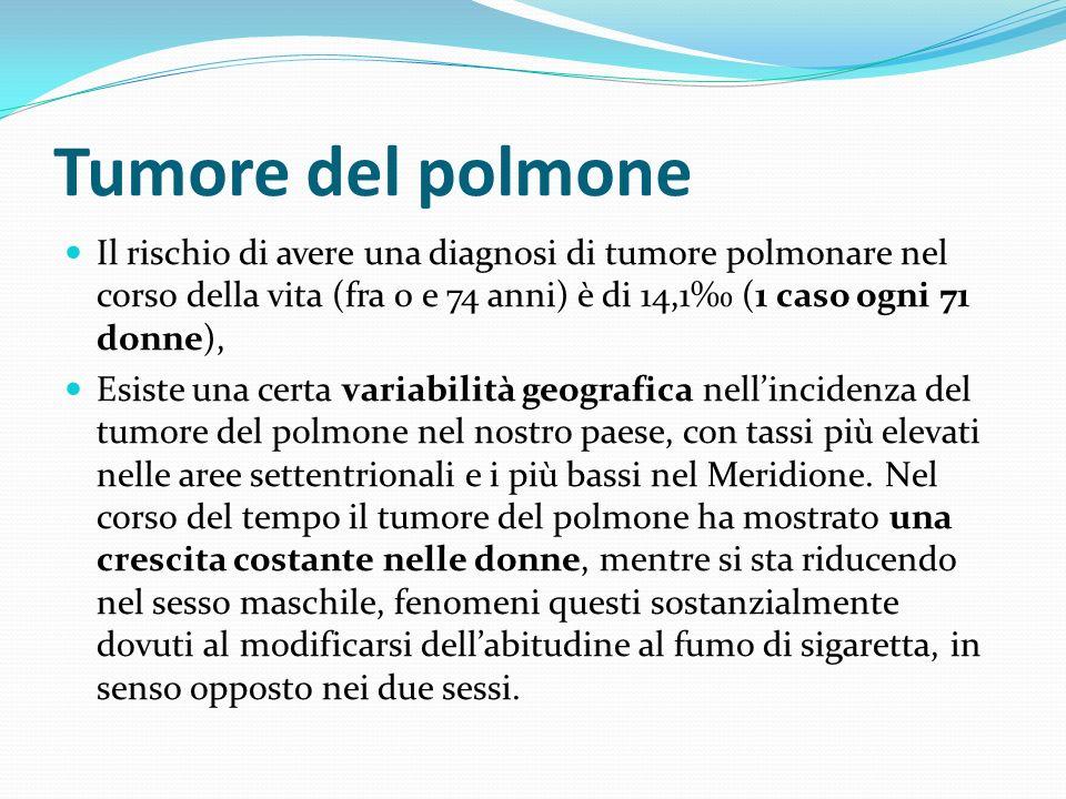 Tumore del polmone Il rischio di avere una diagnosi di tumore polmonare nel corso della vita (fra 0 e 74 anni) è di 14,1‰ (1 caso ogni 71 donne),