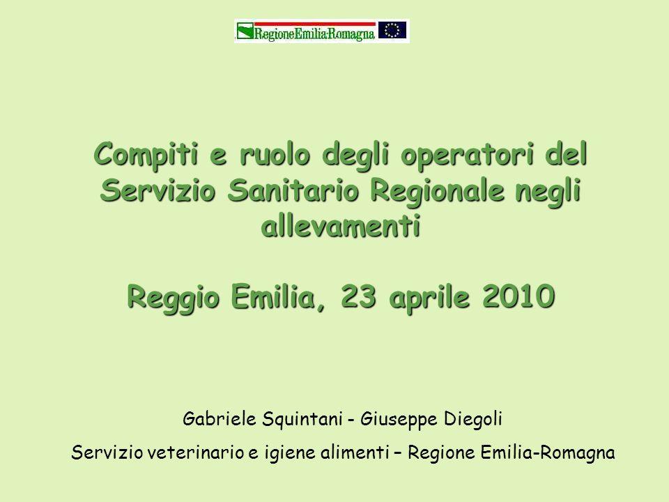Compiti e ruolo degli operatori del Servizio Sanitario Regionale negli allevamenti Reggio Emilia, 23 aprile 2010