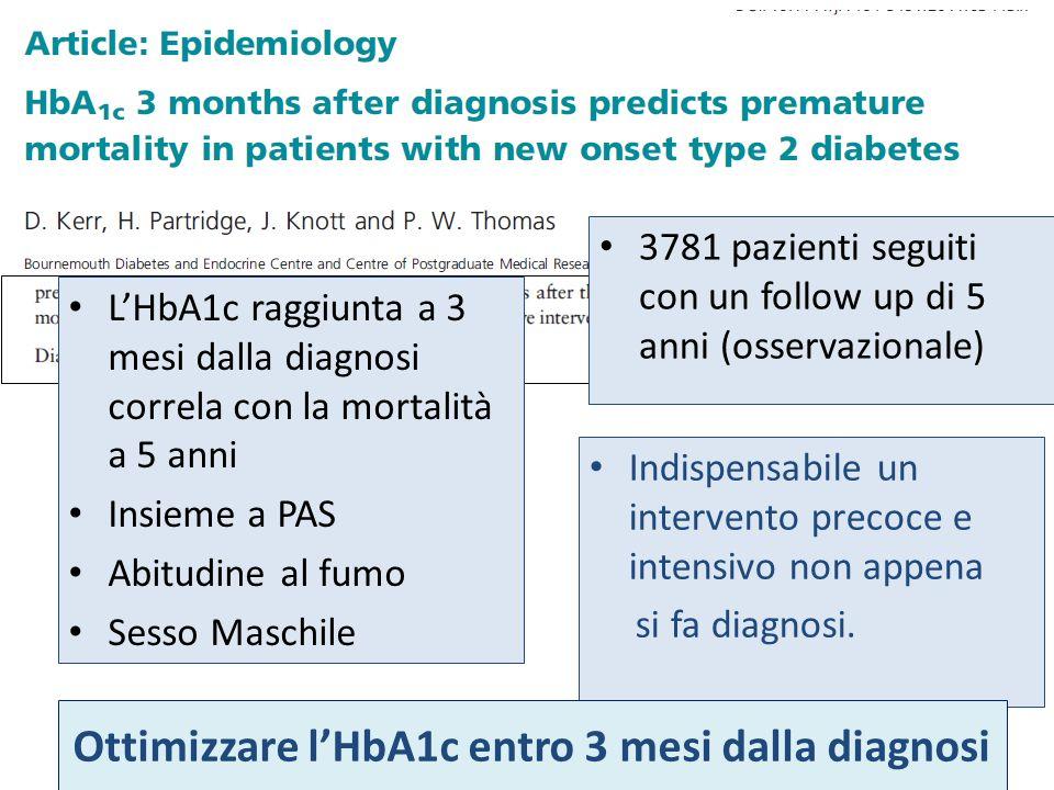 Ottimizzare l'HbA1c entro 3 mesi dalla diagnosi