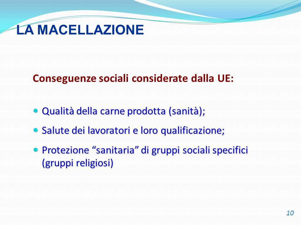 LA MACELLAZIONE Conseguenze sociali considerate dalla UE: