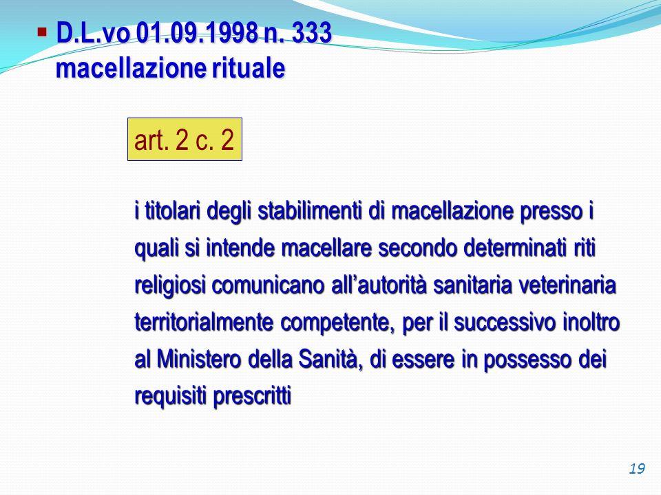D.L.vo 01.09.1998 n. 333 macellazione rituale