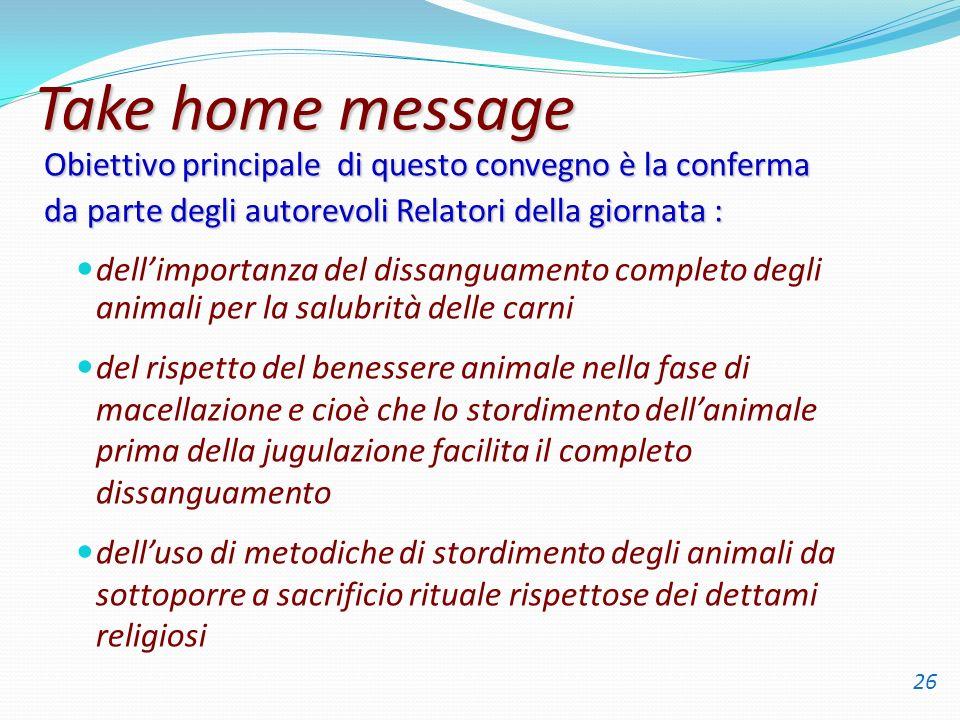 Take home message Obiettivo principale di questo convegno è la conferma. da parte degli autorevoli Relatori della giornata :