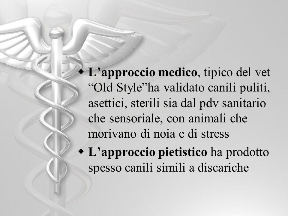 L'approccio medico, tipico del vet Old Style ha validato canili puliti, asettici, sterili sia dal pdv sanitario che sensoriale, con animali che morivano di noia e di stress