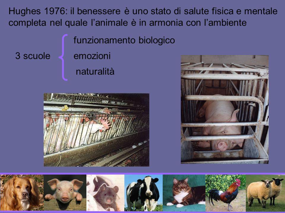 Hughes 1976: il benessere è uno stato di salute fisica e mentale completa nel quale l'animale è in armonia con l'ambiente