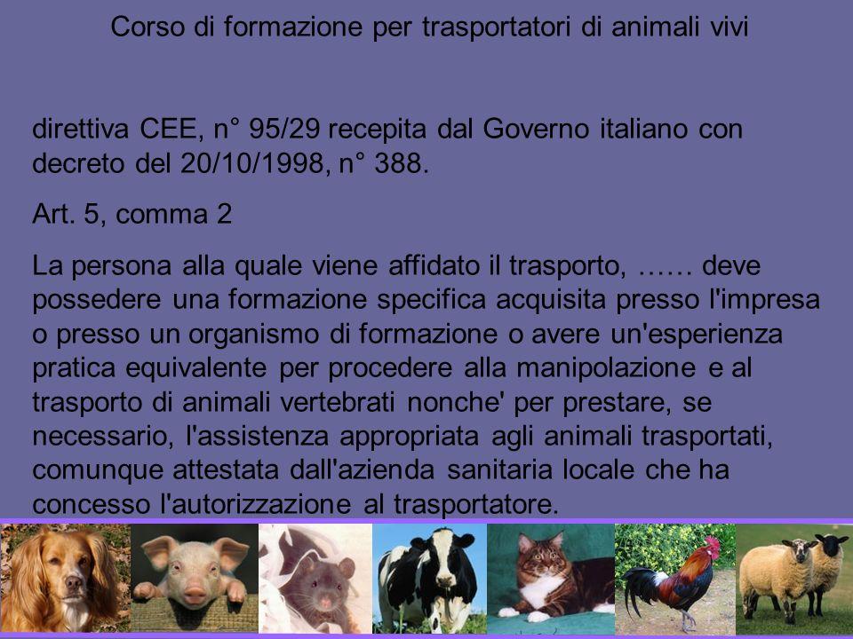 Corso di formazione per trasportatori di animali vivi
