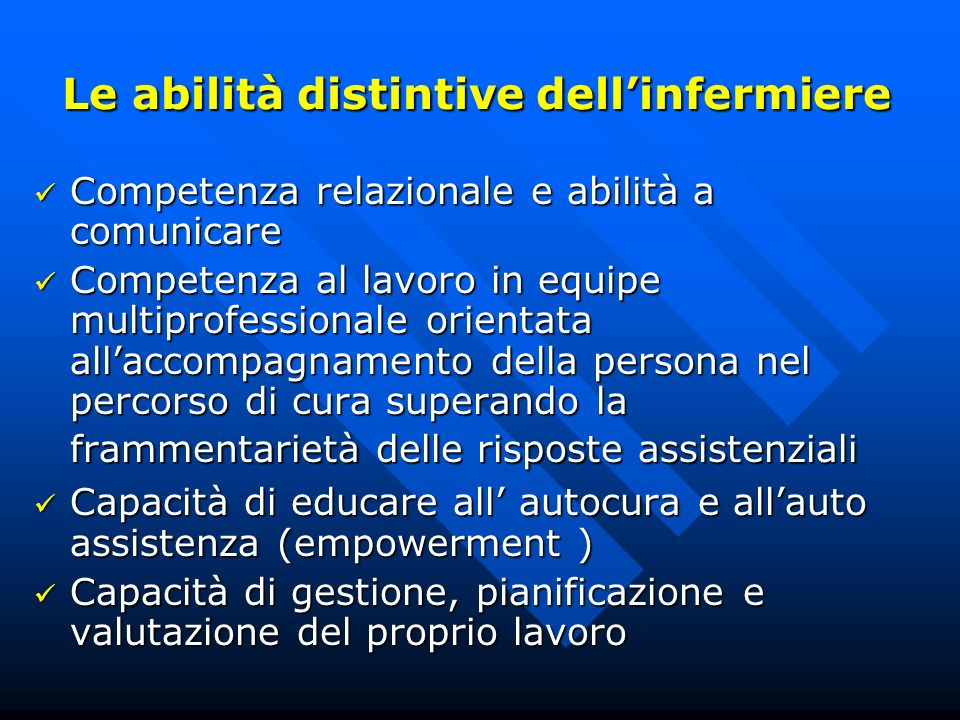 Le abilità distintive dell'infermiere