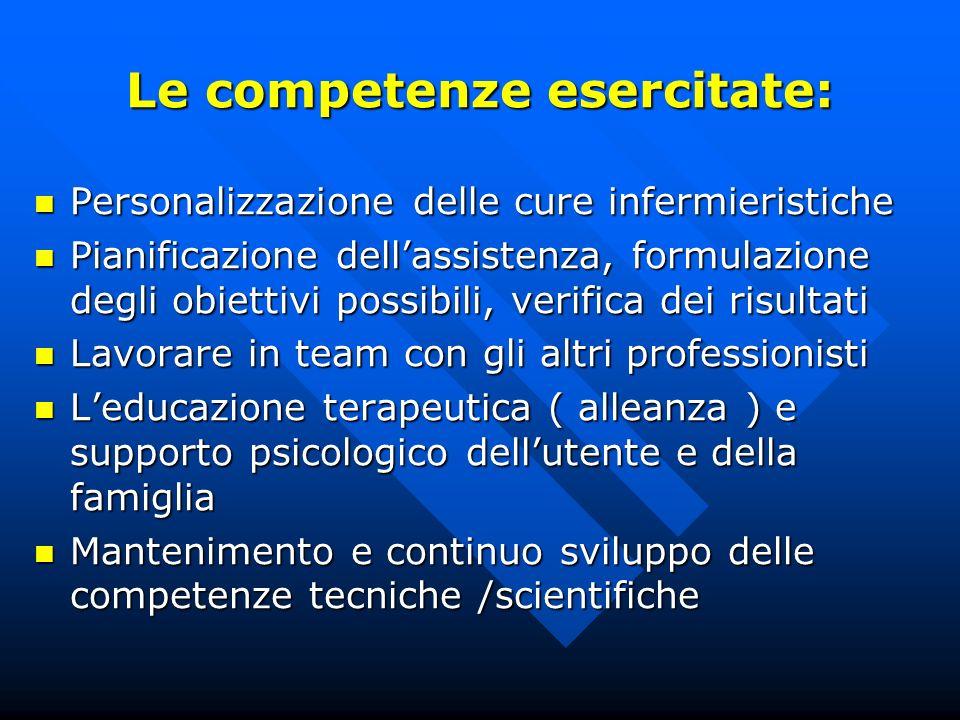 Le competenze esercitate: