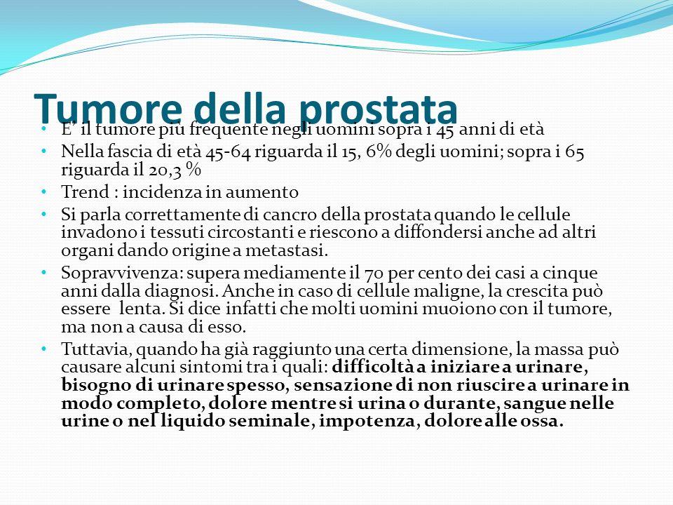 Tumore della prostata E' il tumore più frequente negli uomini sopra i 45 anni di età.