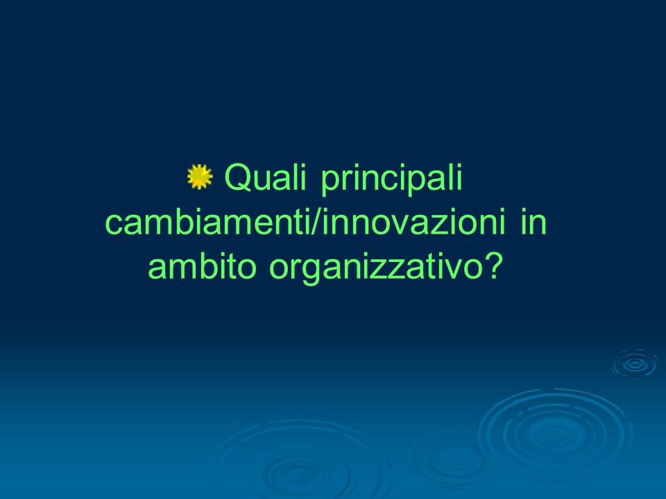 Quali principali cambiamenti/innovazioni in ambito organizzativo