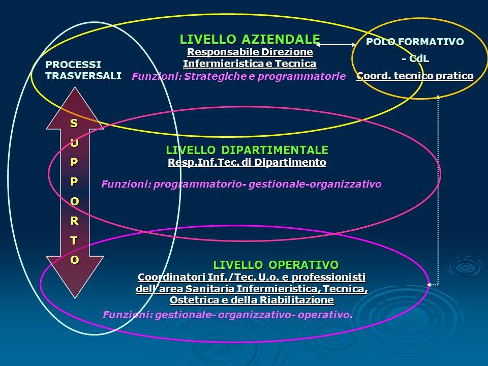 LIVELLO AZIENDALE S U P LIVELLO DIPARTIMENTALE O R T LIVELLO OPERATIVO