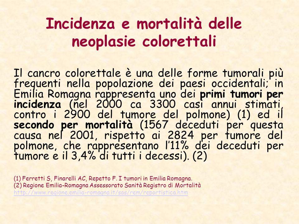 Incidenza e mortalità delle neoplasie colorettali