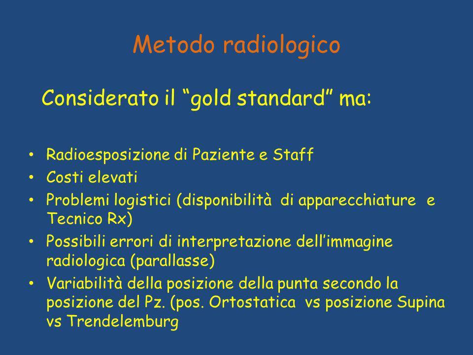 Metodo radiologico Considerato il gold standard ma: