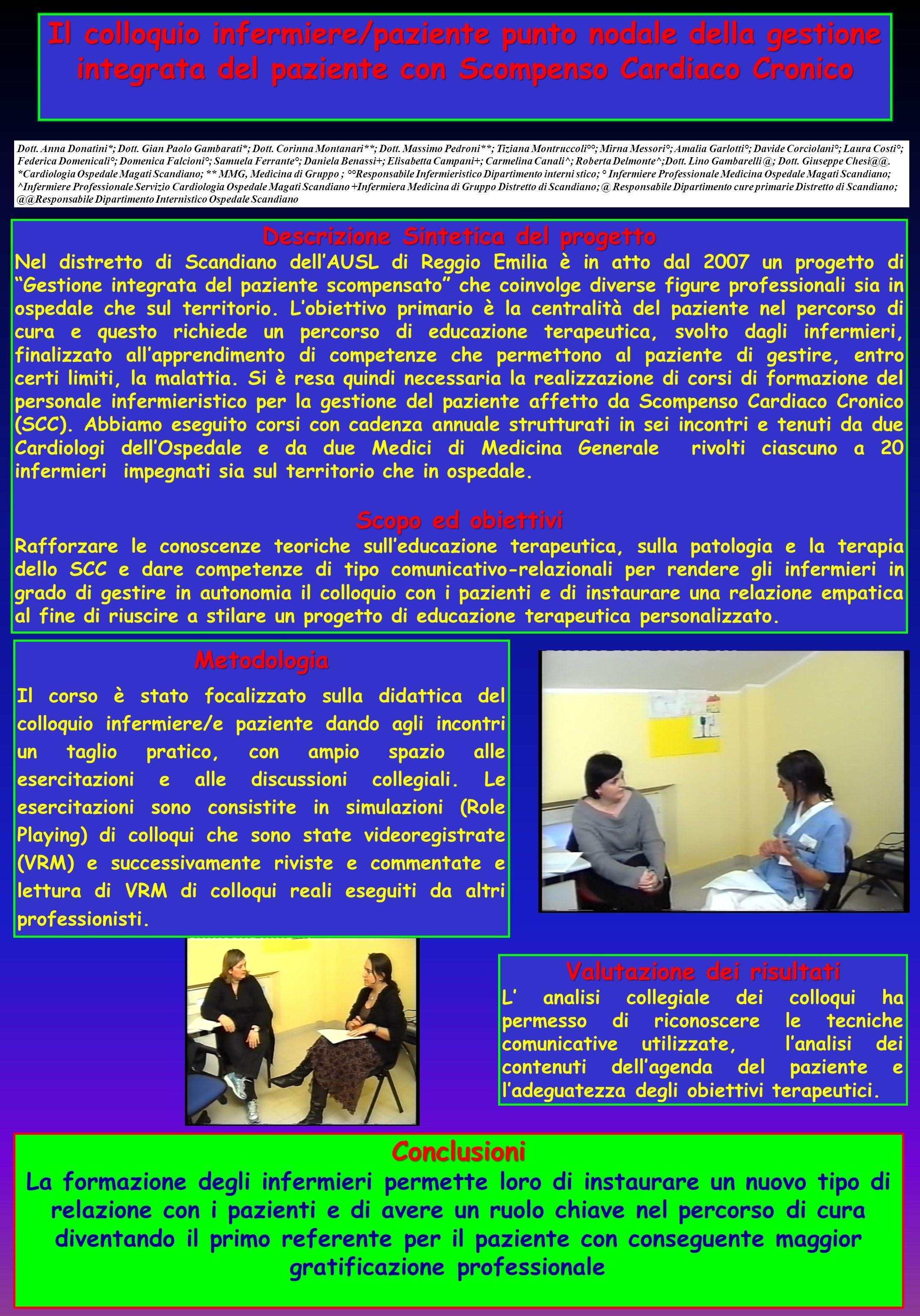 Descrizione Sintetica del progetto Valutazione dei risultati