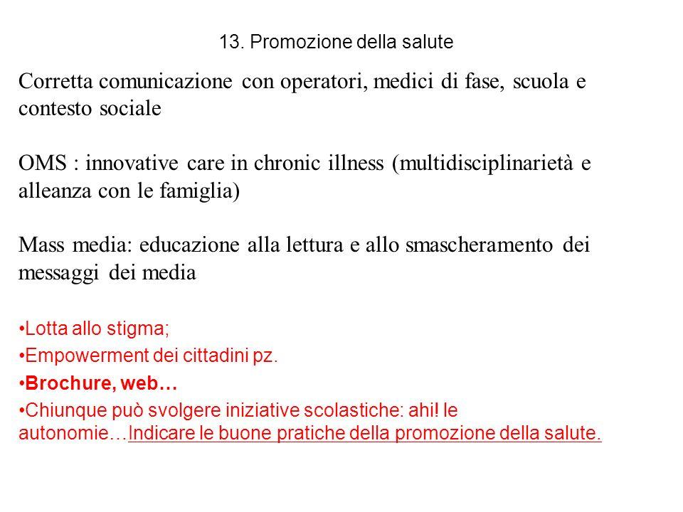 13. Promozione della salute