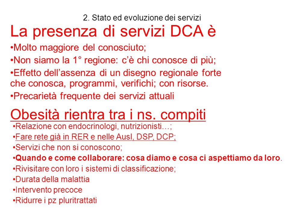 2. Stato ed evoluzione dei servizi