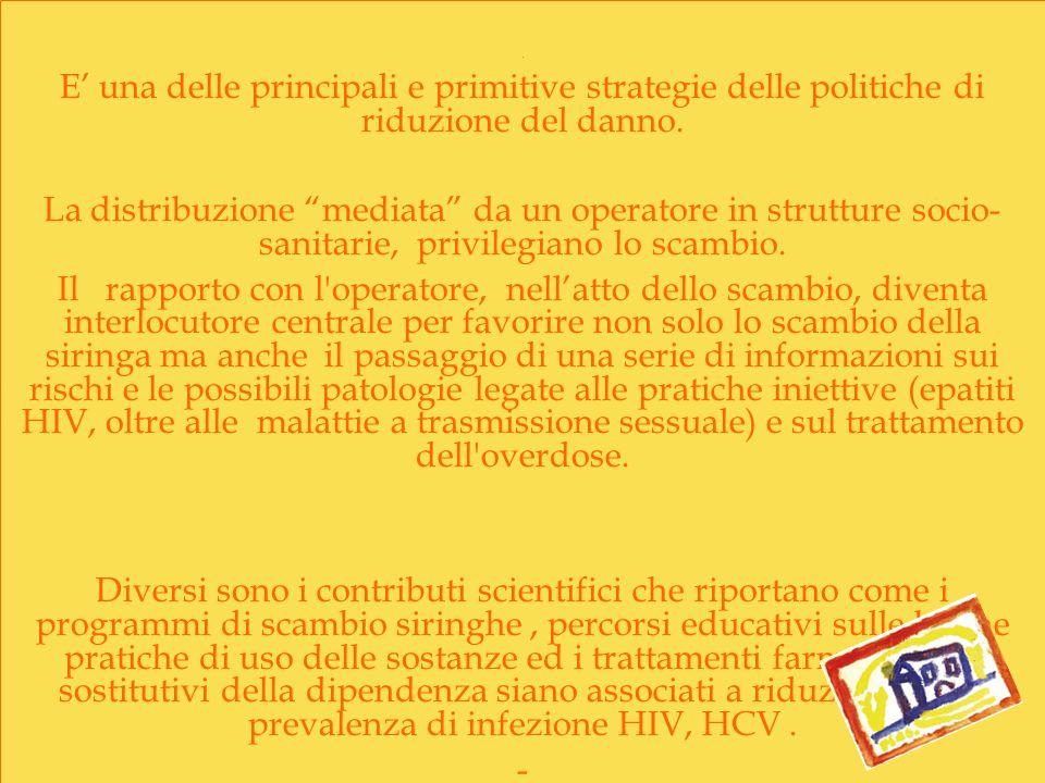 . E' una delle principali e primitive strategie delle politiche di riduzione del danno.