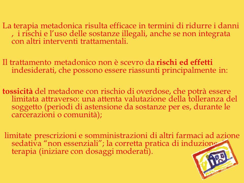 La terapia metadonica risulta efficace in termini di ridurre i danni , i rischi e l'uso delle sostanze illegali, anche se non integrata con altri interventi trattamentali.