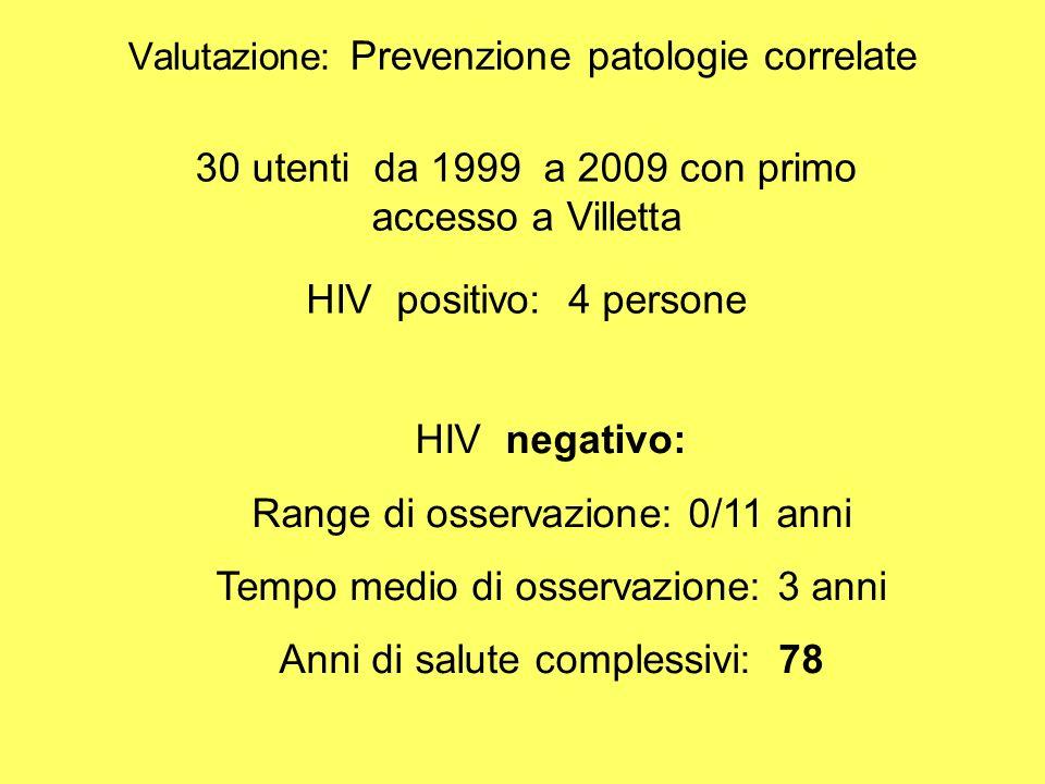 Valutazione: Prevenzione patologie correlate