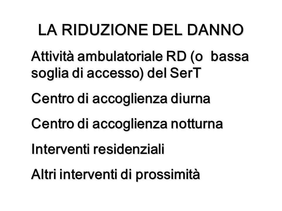LA RIDUZIONE DEL DANNO Attività ambulatoriale RD (o bassa soglia di accesso) del SerT. Centro di accoglienza diurna.