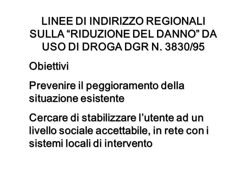 LINEE DI INDIRIZZO REGIONALI SULLA RIDUZIONE DEL DANNO DA USO DI DROGA DGR N. 3830/95