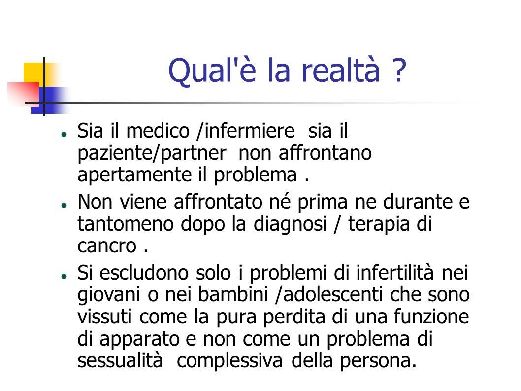 Qual è la realtà Sia il medico /infermiere sia il paziente/partner non affrontano apertamente il problema .
