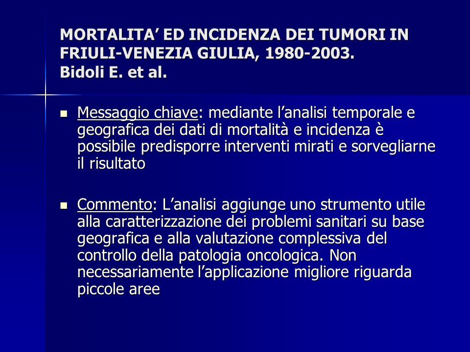MORTALITA' ED INCIDENZA DEI TUMORI IN FRIULI-VENEZIA GIULIA, 1980-2003