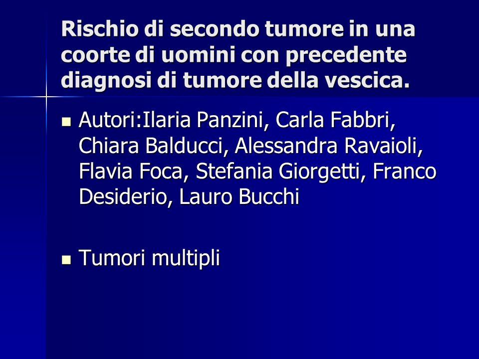 Rischio di secondo tumore in una coorte di uomini con precedente diagnosi di tumore della vescica.