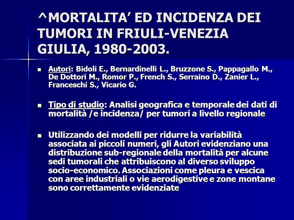 ^MORTALITA' ED INCIDENZA DEI TUMORI IN FRIULI-VENEZIA GIULIA, 1980-2003.
