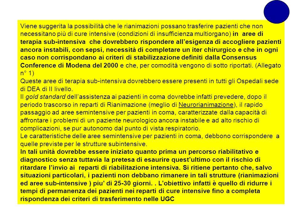 Viene suggerita la possibilità che le rianimazioni possano trasferire pazienti che non necessitano più di cure intensive (condizioni di insufficienza multiorgano) in aree di terapia sub-intensiva che dovrebbero rispondere all'esigenza di accogliere pazienti ancora instabili, con sepsi, necessità di completare un iter chirurgico e che in ogni caso non corrispondano ai criteri di stabilizzazione definiti dalla Consensus Conference di Modena del 2000 e che, per comodità vengono di sotto riportati. (Allegato n° 1)