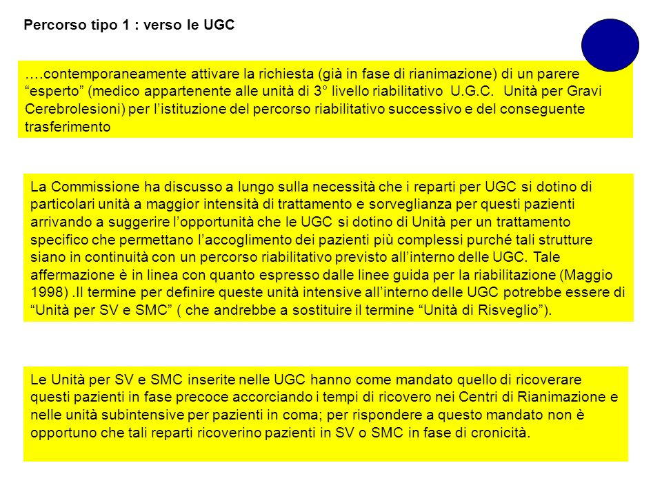 Percorso tipo 1 : verso le UGC