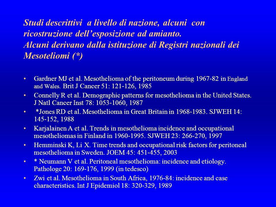 Studi descrittivi a livello di nazione, alcuni con ricostruzione dell'esposizione ad amianto. Alcuni derivano dalla istituzione di Registri nazionali dei Mesoteliomi (*)
