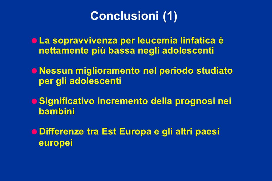 Conclusioni (1)La sopravvivenza per leucemia linfatica è nettamente più bassa negli adolescenti.
