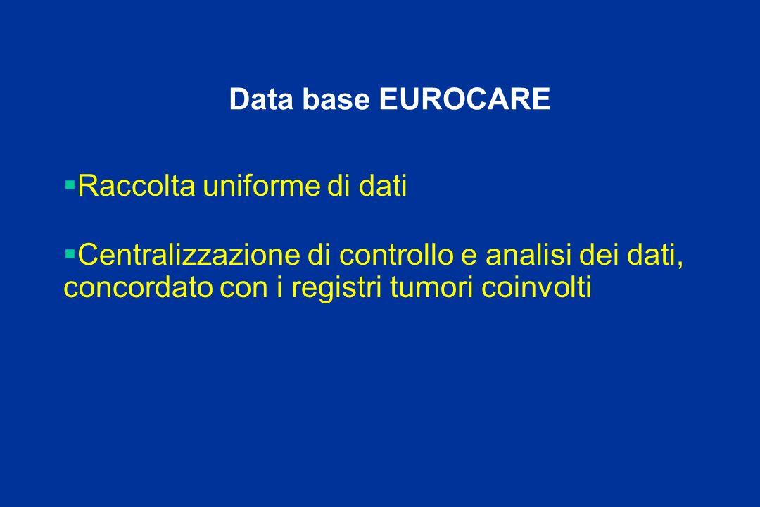 Data base EUROCARE Raccolta uniforme di dati.