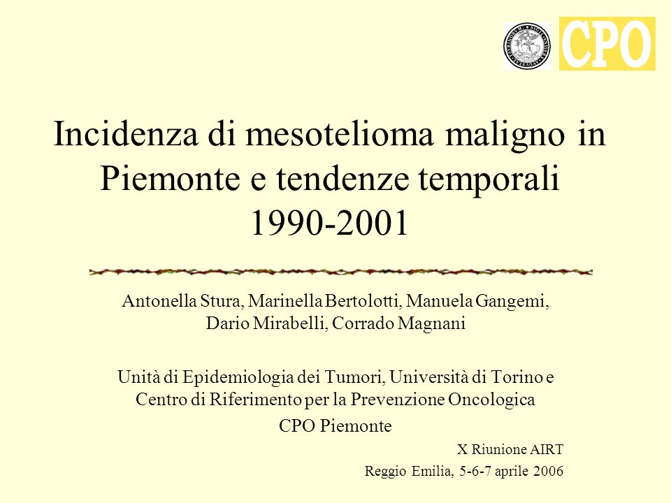 Incidenza di mesotelioma maligno in Piemonte e tendenze temporali 1990-2001