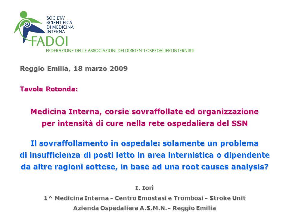 Medicina Interna, corsie sovraffollate ed organizzazione