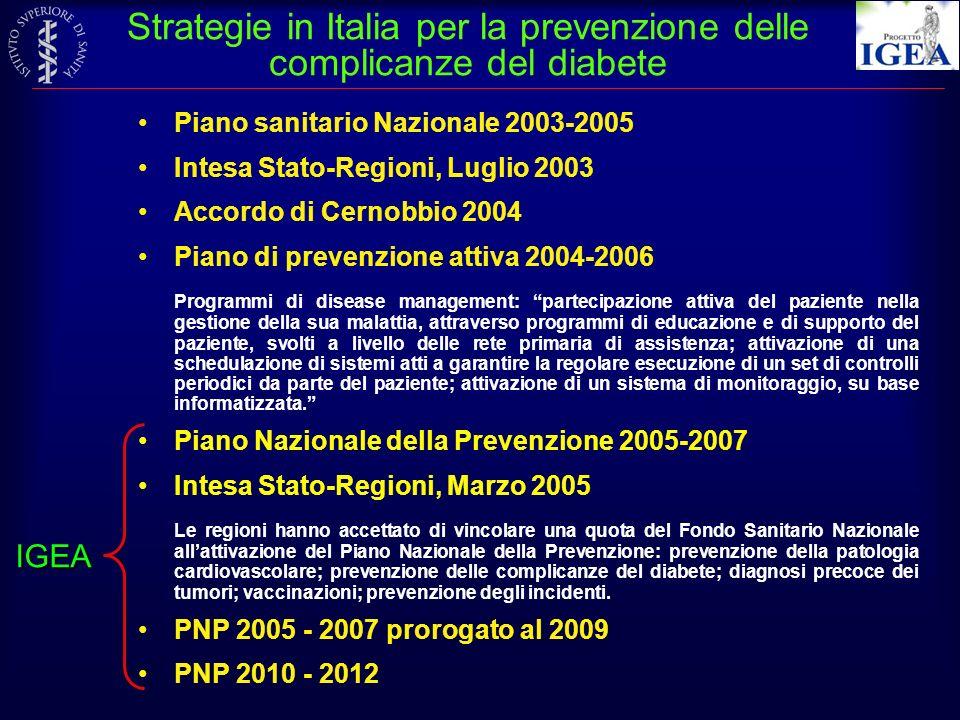 Strategie in Italia per la prevenzione delle complicanze del diabete