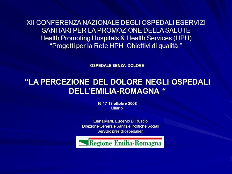 LA PERCEZIONE DEL DOLORE NEGLI OSPEDALI DELL'EMILIA-ROMAGNA
