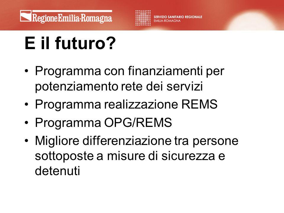 E il futuro Programma con finanziamenti per potenziamento rete dei servizi. Programma realizzazione REMS.