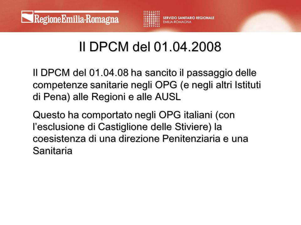 Il DPCM del 01.04.2008