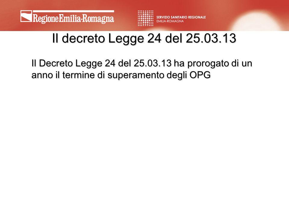 Il decreto Legge 24 del 25.03.13 Il Decreto Legge 24 del 25.03.13 ha prorogato di un anno il termine di superamento degli OPG.